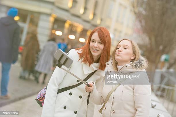 Selfie d'hiver de la ville