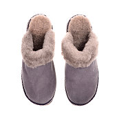a pair of gray suede winter slipper on isolated on white background