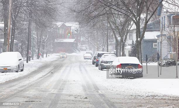 Winter Snow Storm on City Street in Ithaca, New York