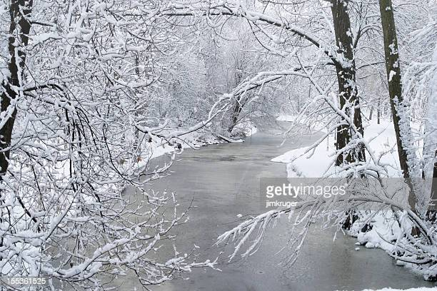 Winter snowfall and Minnehaha Creek in Minneapolis.