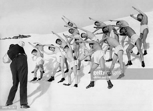 winter sports gymnastics boys in underwear at gymnastics exercises in the snow 1927 Photographer Frankl Published by 'Das Blatt der Hausfrau' 08/1927...