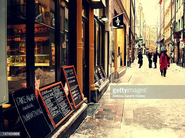 Winter street scene in Scandinavian Old Town