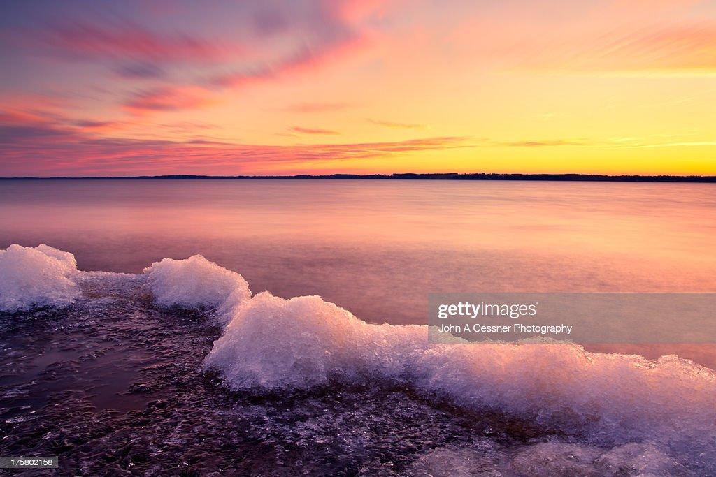 Winter sunrise on Lake Michigan