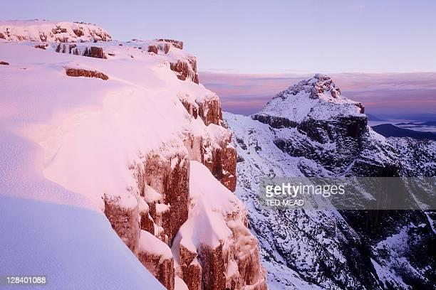 Winter sunrise on Mt Anne, Southwest NP, Tasmania, Australia