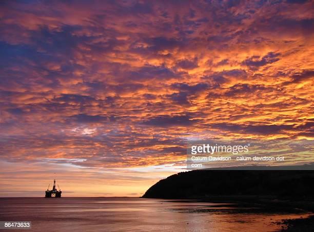 Winter sunrise over oil rig