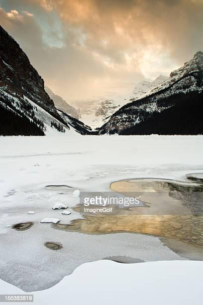 Winter Sunset at Lake Louise