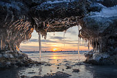 Winter sunset by the sea.