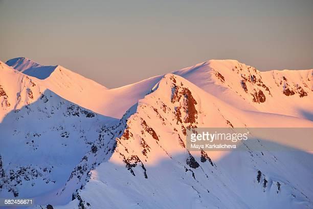 Winter sunset in Pirin mountain, Europe, Bulgaria