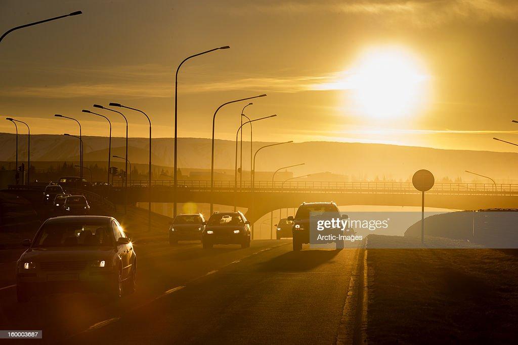 Winter sunset over highway : Stock Photo