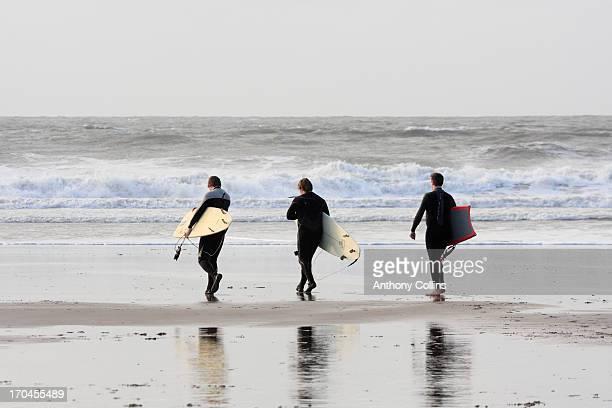 Winter surfing Croyde Bay North Devon UK