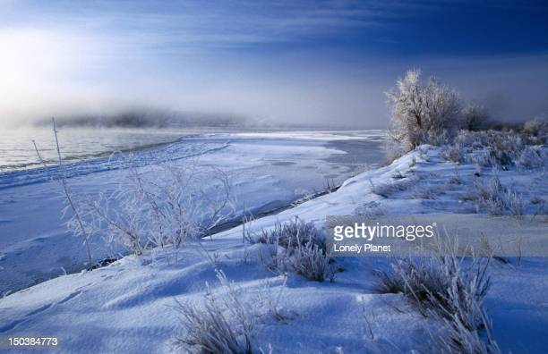 Winter time over the Yellowstone River in Rosebud County, Montana.