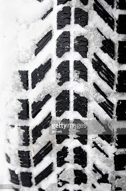 Winter tire packed with fresh snow.