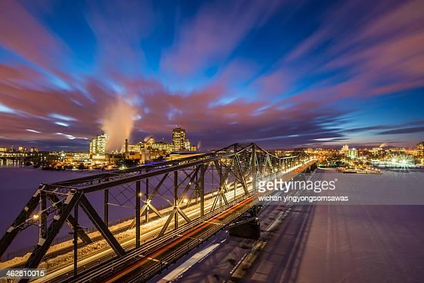 Winter twilight across Alexandra Bridge