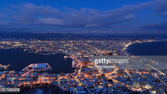 Winter twilight hour of Hakodate, Hokkaido, Japan : Stock Photo