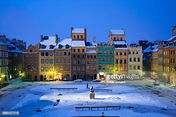 Winter twilight in the Old Town Square in Warsaw