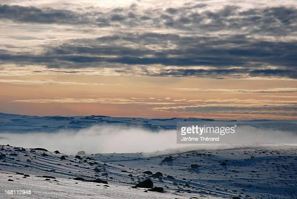 Winter twilight on Aubrac plateau