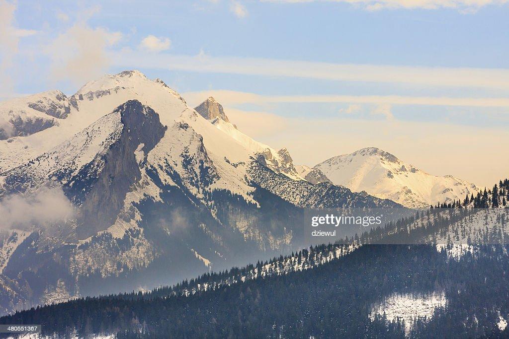 Inverno congelado superfície vista, de altas Montanhas de Tatra : Foto de stock
