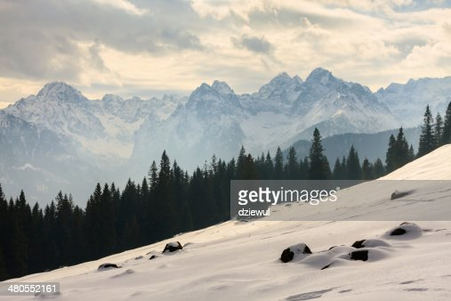 Winter view, frozen surface of High Tatra mountains : Stock Photo