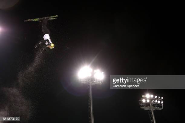 Winter Vinecki of the United States performs an aerial during Aerials training prior to the FIS Freestyle World Cup at Bokwang Snow Park on February...