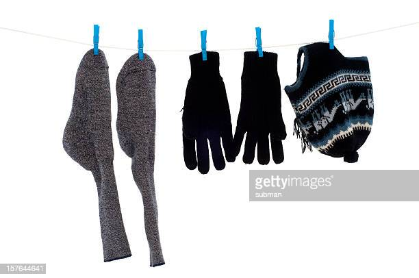 Winter wear on washing line