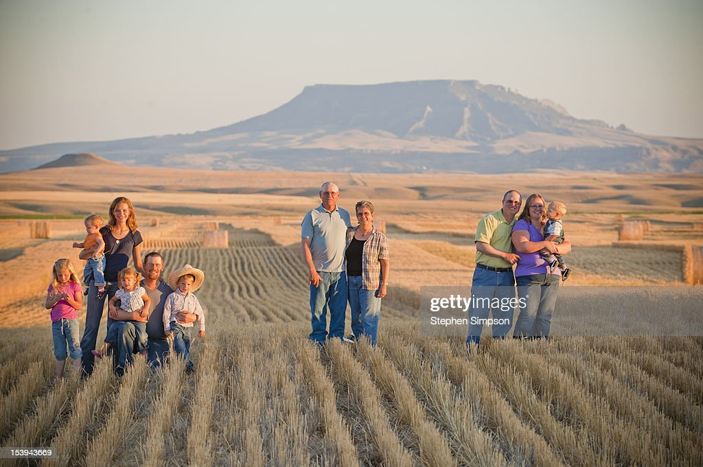 Winter wheat farming families/generations : Stock Photo