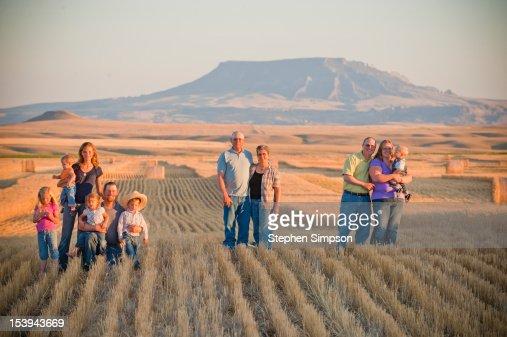 Winter wheat farming families/generations : Stock Photo