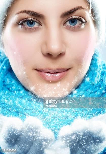 winter Frau einen Schnee, Kamera