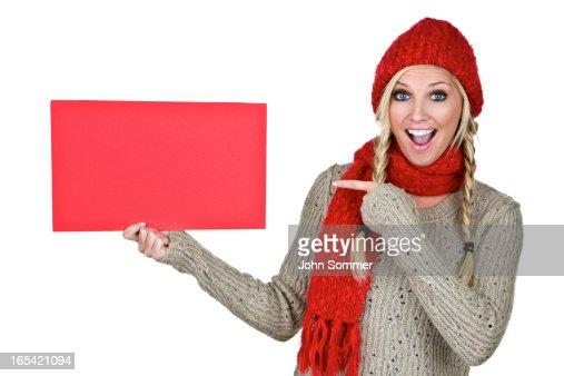 Winter woman copy space board