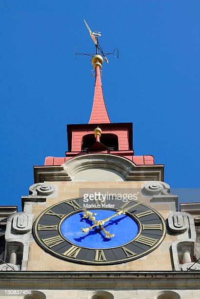 Winterthur - watch face from the city cathedral - Kanton Zurich, Switzerland, Europe.