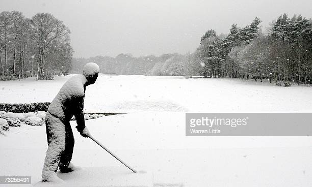 Wintery scenes are captured at the Wentworth Golf and Country Club as heavy snow falls across the United Kingdom on February 8 2007 in Virginia Water...