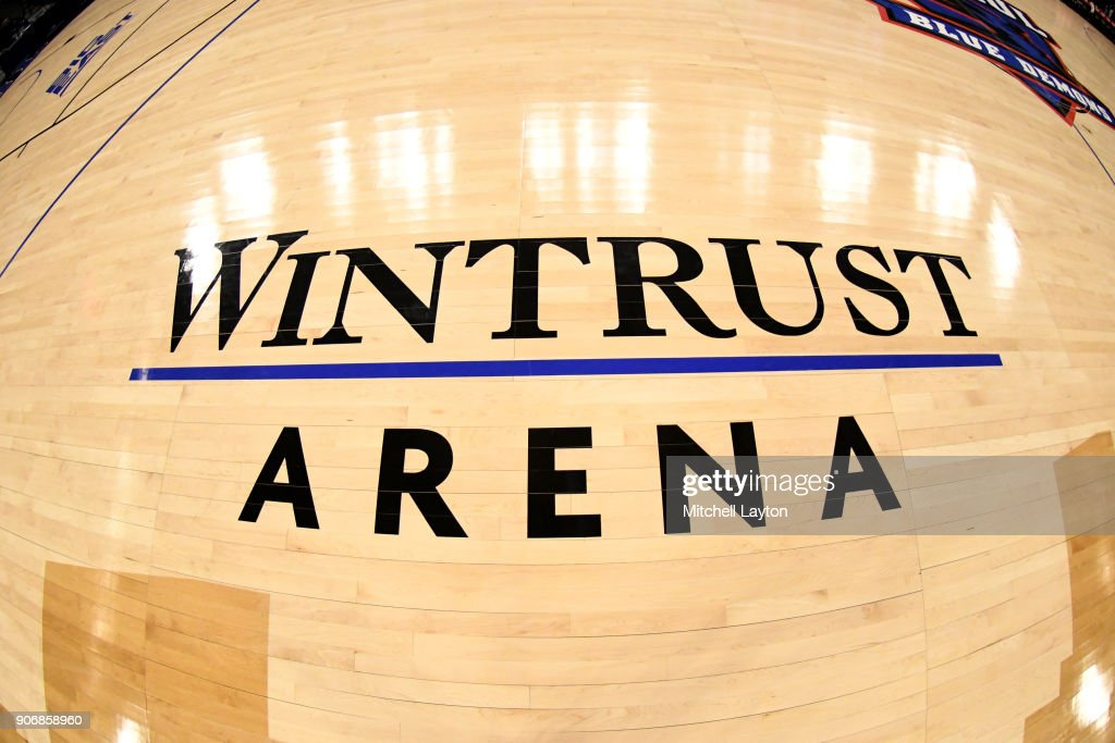 Wintrust Arena logo on the floor during a women's college basketball game between the DePaul Blue Demons and the Xavier Musketeers at Wintrust Arena on January 12, 2018 in Chicago, Illinois. The Blue Demons won 79-48.