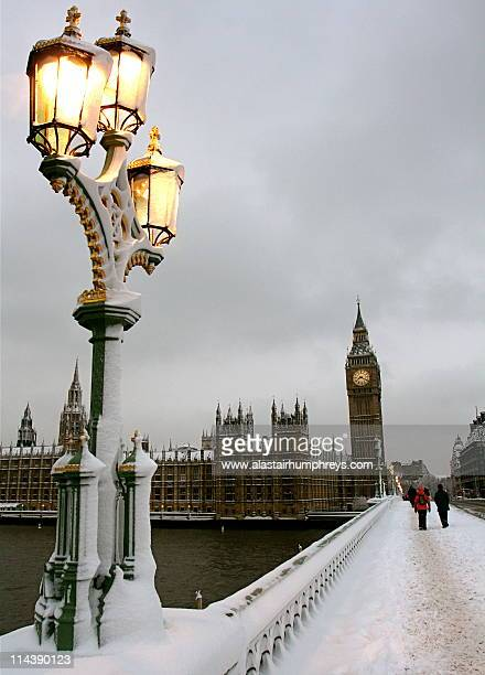 Wintry Big Ben in  snow