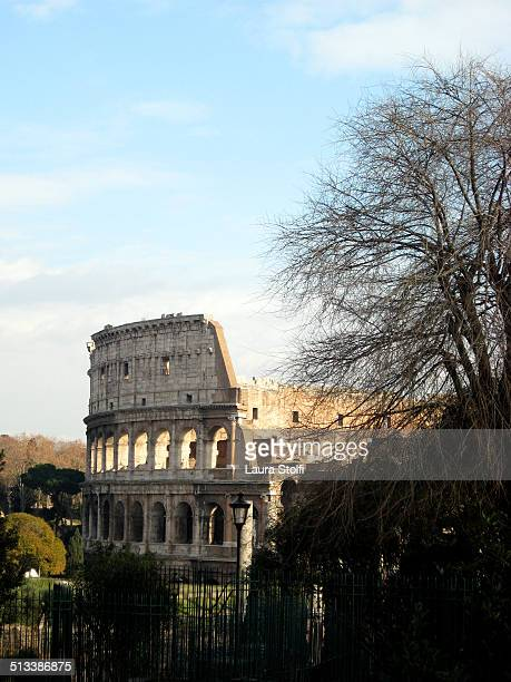 Wintry sight of the Colosseum in Rome at dusk