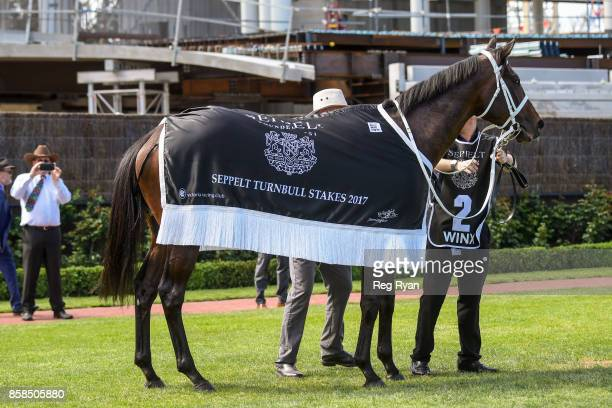 Winx after winning the Seppelt Turnbull Stakes at Flemington Racecourse on October 07 2017 in Flemington Australia