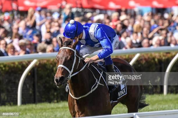 Winx ridden by Hugh Bowman wins the Seppelt Turnbull Stakes at Flemington Racecourse on October 07 2017 in Flemington Australia
