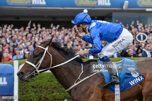 Winx ridden by Hugh Bowman wins William Hill Cox Plate at Moonee Valley Racecourse on October 22 2016 in Moonee Ponds Australia