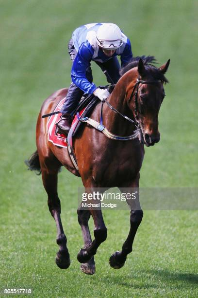 Winx ridden by jockey Hugh Bowman gallops during Breakfast With The Stars at Moonee Valley Racecourse on October 24 2017 in Melbourne Australia