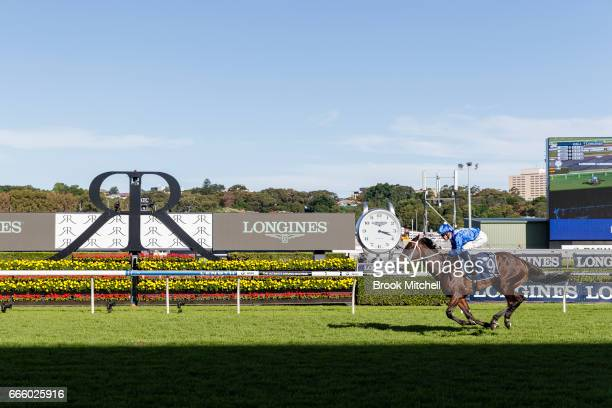 Winx strides for the line to win the Queen Elizabeth Stakes at Royal Randwick Racecourse on April 8 2017 in Sydney Australia