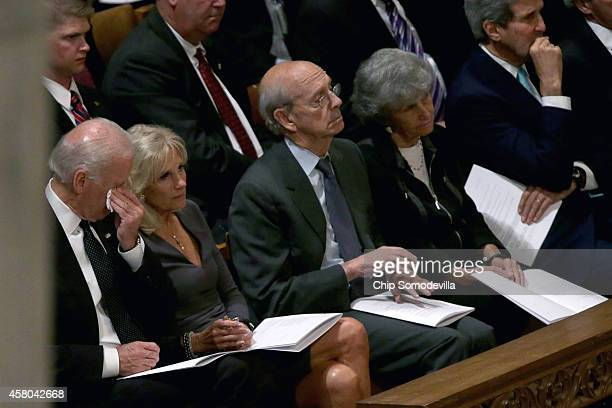 Wiping tears from his eyes Vice President Joe Biden sits with his wife Dr Jill Biden Supreme Court Associate Justice Stephen Breyer his wife Joanna...