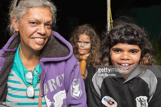 Wiradjuri Elder Aunty Jenny Munro sits with children at the tent embassy in Redfern on August 9 2015 in Sydney Australia The tent embassy was...