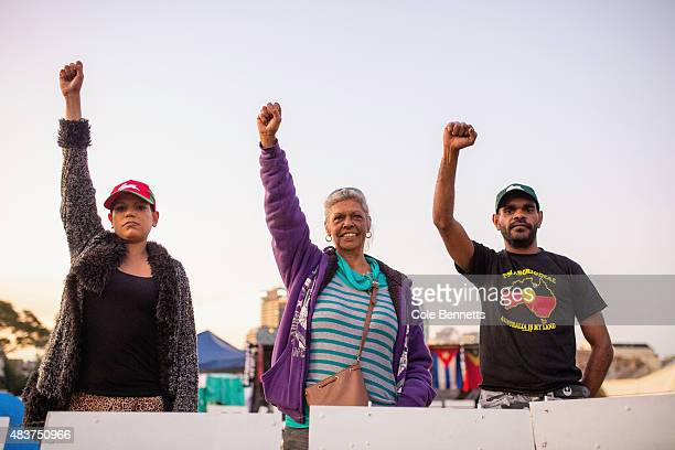 Wiraduri Elder Aunty Jenny Munro and residents of the tent embassy on 'The Block' in Redfern stand defiant for a photograph on August 9 2015 in...