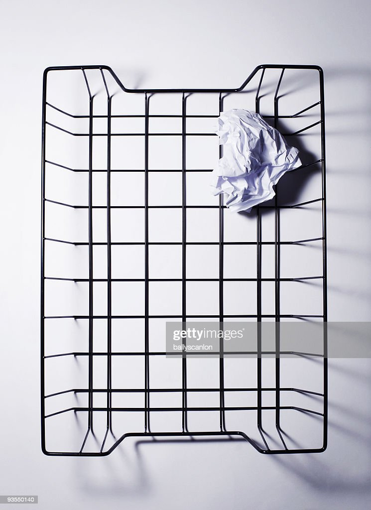 Wire Basket With Crumpled Paper. : Stock Photo