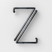 3d realistic Wire Font with shiny reflection and soft shadows. Letter Z.