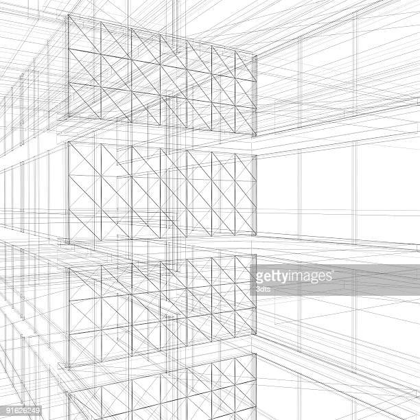 Wire frame floor interiors (isolated on white)