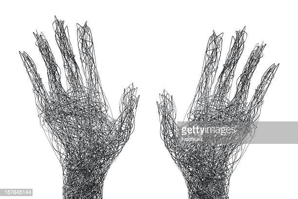 Wire mesh hands reaching out concept