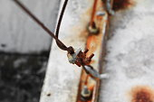 wire rope clip rust old, connection of sling cable select focus with shallow depth of field.