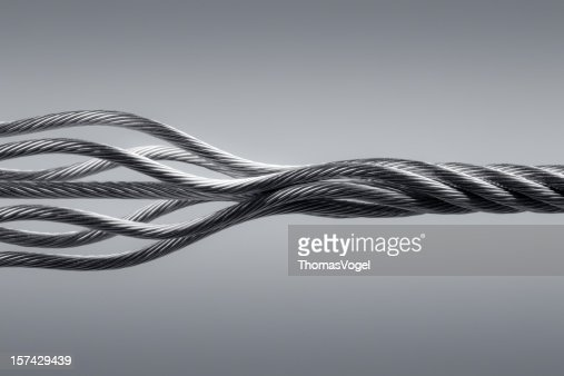 Wire rope. Connection Steel Link Strength Twisted Cable Abstract