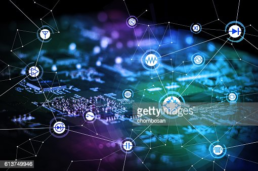 wired schematic symbol icons on electric circuit board : Stock Photo