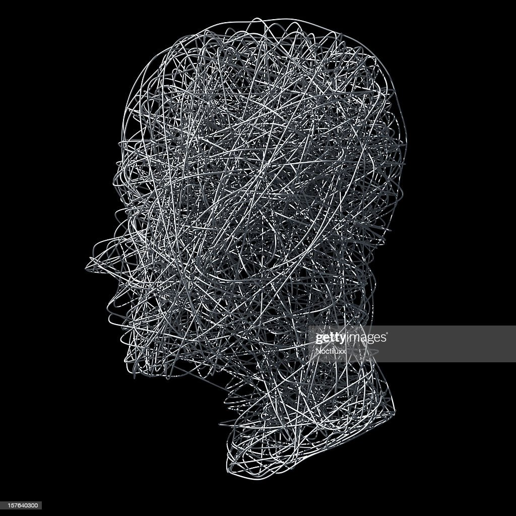 Wirefilled head on black