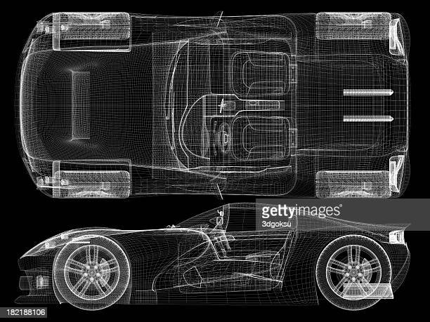 Wireframe representation of a sports car